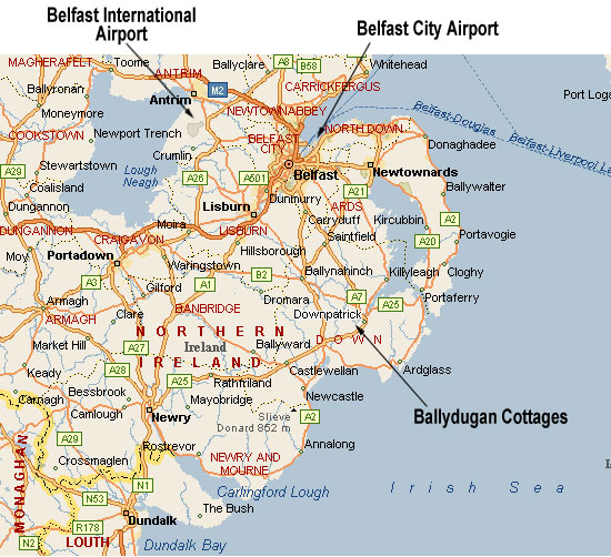 Northern Ireland map showing the airports and Ballydugan Cottages